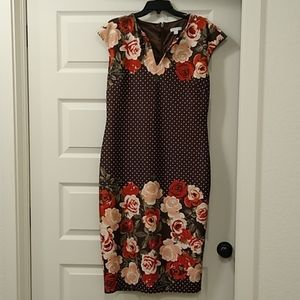 Form fitting mid calf, cap sleeve brown dress